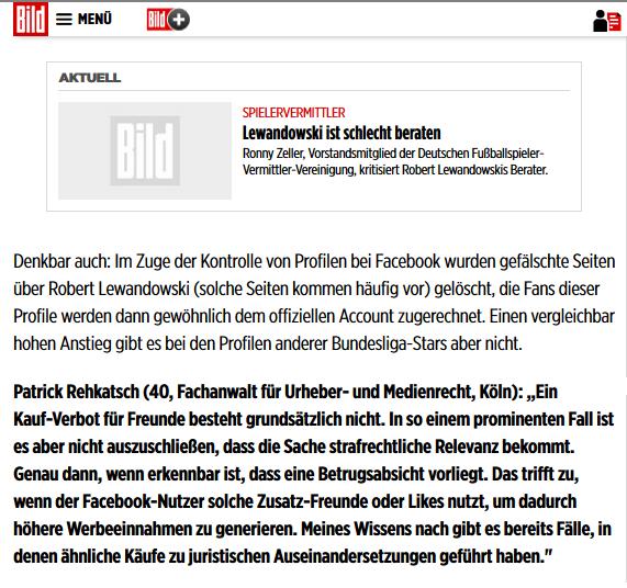 Stellungnahme vom Fachanwalt für Urheber- und Medienrecht, Patrick Rehkatsch zum Fall Lewandowski in BILD