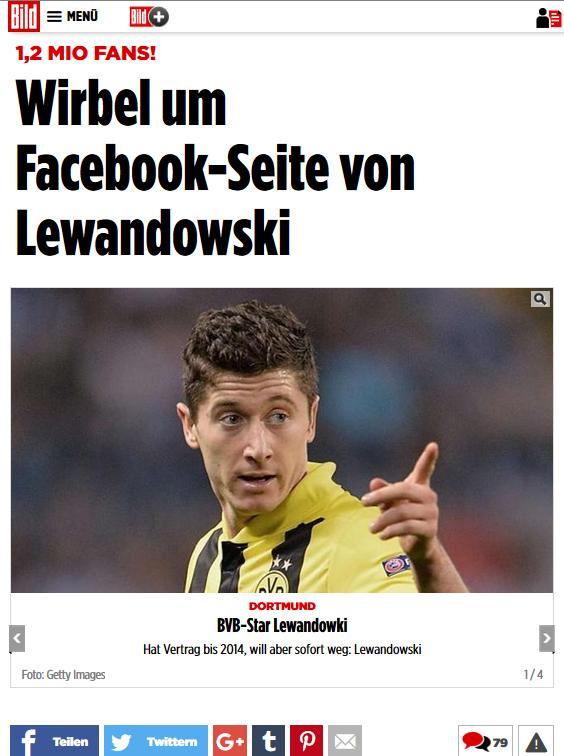 Medienrecht - kaufte Lewandowski Facebook Fans?  Quelle: BILD Beitrag
