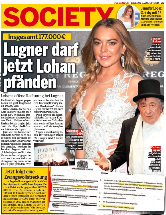 oe24 Lugner Lindsay Lohan Screenshot