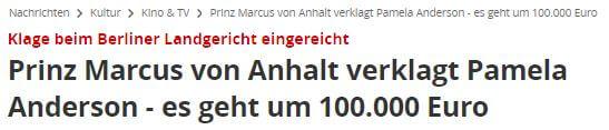 FOCUS Online Titel Prinz von Anhalt Pamela Anderson